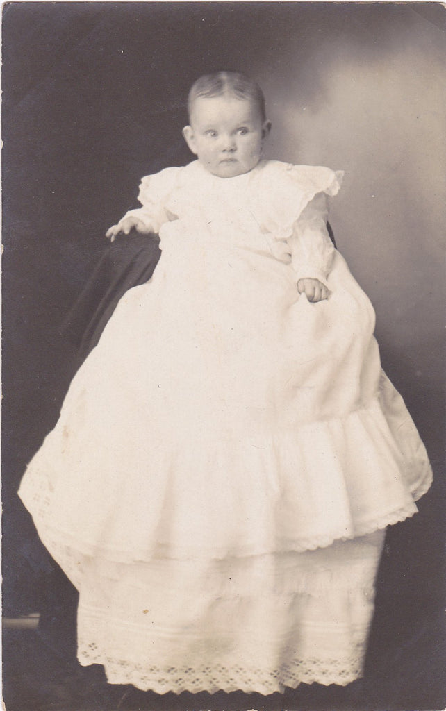 Christening Gown for Baby- 1910s Antique Photograph- Edwardian Infant- Found Photo- RPPC- Real Photo Postcard- Vernacular- Paper Ephemera