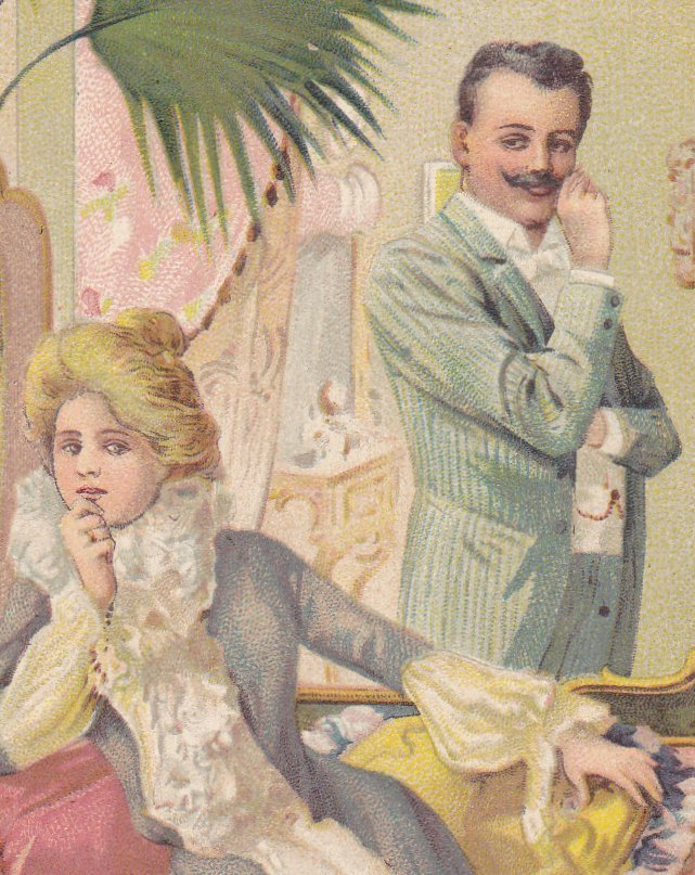 The Proposal- 1900s Antique Postcard- Edwardian Romance- Engagement- Thinking About It- Unused