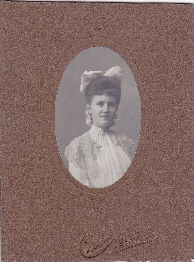 Pretty as a Picture- 1890s Antique Photograph- Victorian Beauty- Young Woman- Cabinet Photo- Denver, Co- 19th Century Portrait- Ephemera