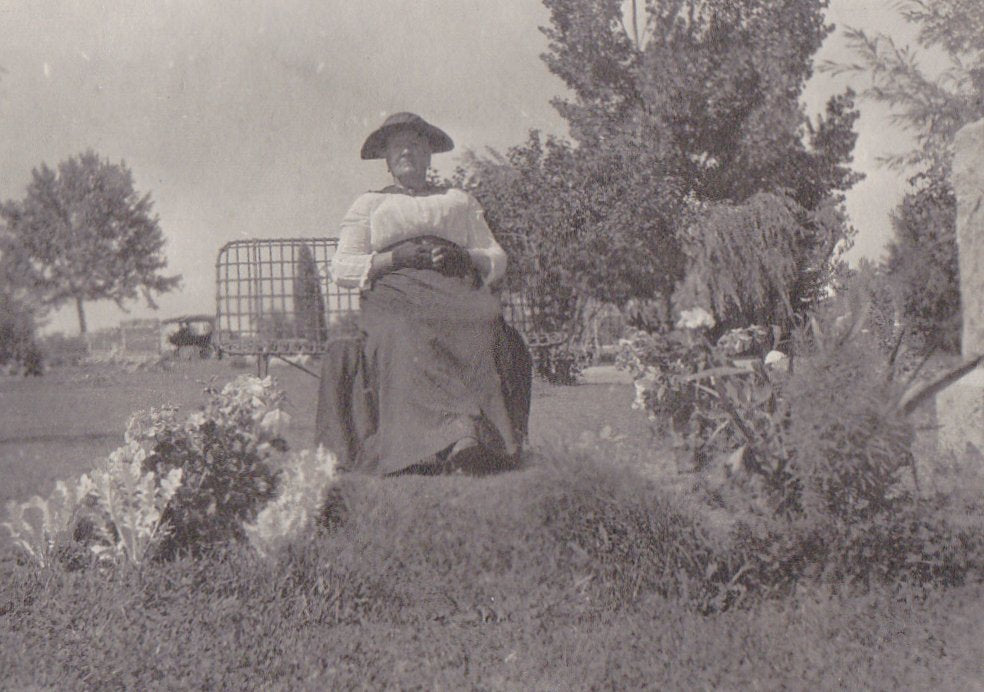 Cemetery Visit- 1910s Antique Photograph- Wrought Iron Bench- Headstone- Graveside- Found Photo- Mourning Ephemera- Vernacular Snapshot