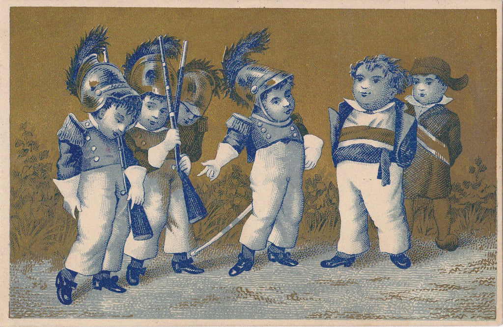 Napoleonic Soldiers- 1800s Antique Trade Card- Apothecary- Victorian Lithograph- Wilkes-Barre, PA- Millard F Cyphers- Paper Ephemera