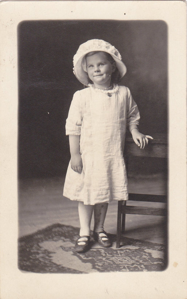Mama's Girl- 1910s Antique Photograph- Edwardian Girl- Wearing Memorial Pin- AZO RPPC- Real Photo Postcard- Vernacular