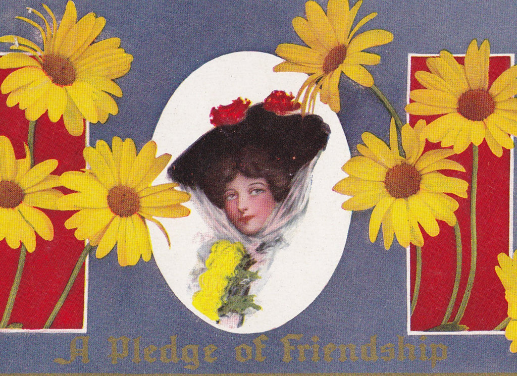 Pledge of Friendship- 1910s Antique Postcard- Edwardian Friends- Yellow Daisy Flowers- Floral Greeting- Used
