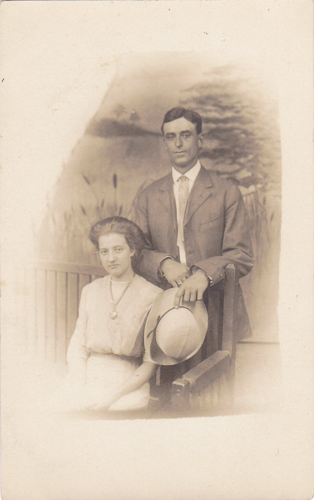 Katie and Elmer- 1910s Antique Photograph- Edwardian Couple- Found Photo- AZO RPPC- Real Photo Postcard- Vernacular- Paper Ephemera