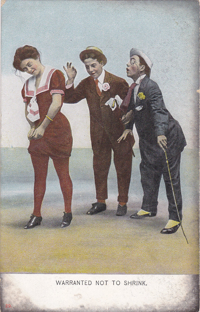 Warranted Not To Shrink- 1900s Antique Postcard- Shrinking Swimsuit- Edwardian Dandies- Bathing Suit- Life Model Series- Beach Comic- Phila. Post Card Co.