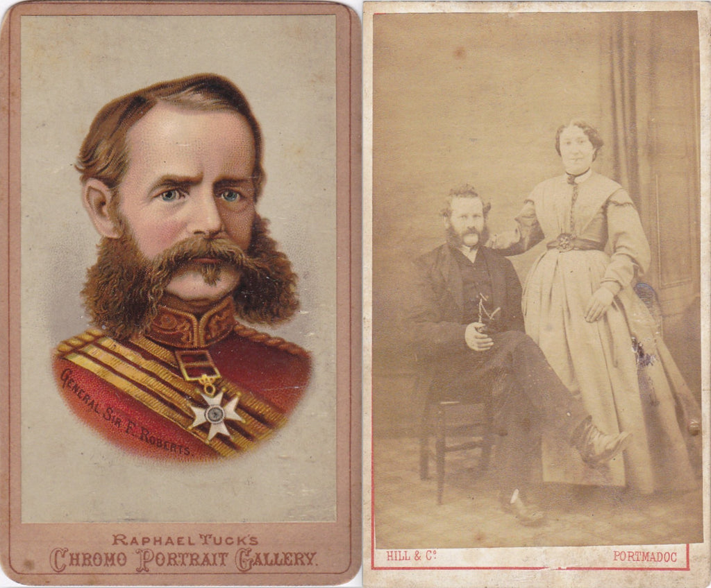 General Sir Frederick Roberts and Wife- 1800s Antique Photograph- SET of 2- Historical CDV- Raphael Tuck Chromo Portrait- Carte de Visite- Photographer Hill & Co.