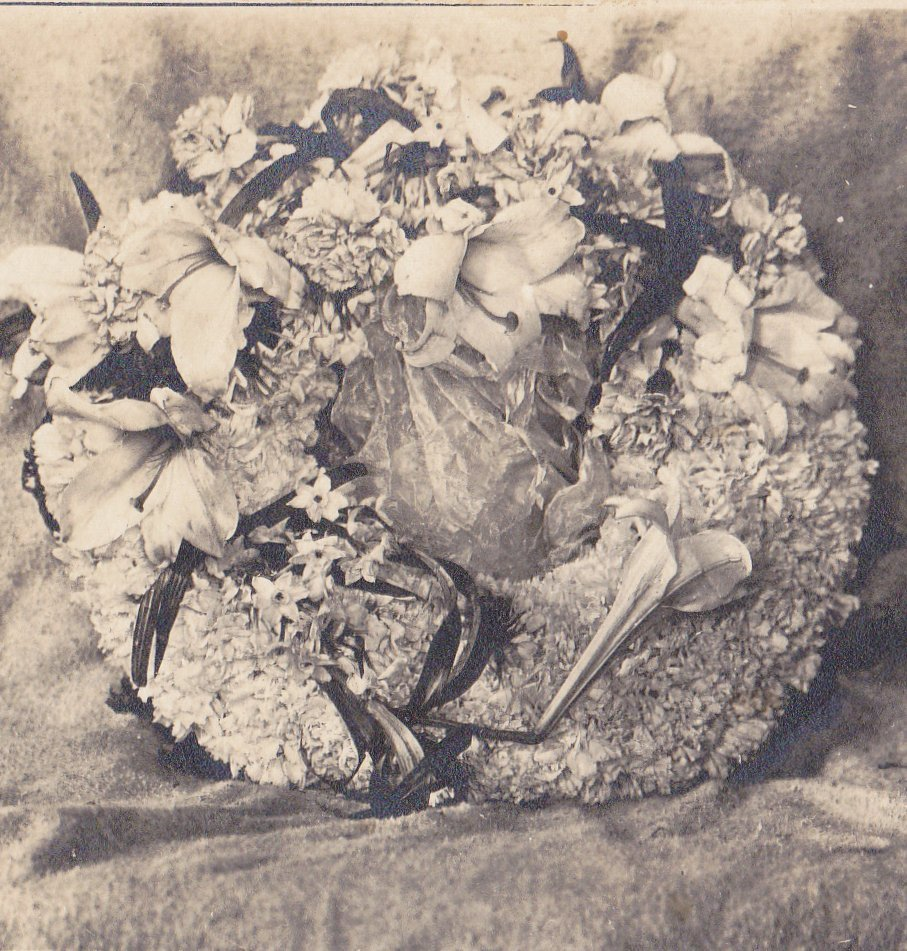 Memorial Wreath- 1900s Antique Photograph- Funeral Flowers- Carnations, Lilies- AZO RPPC- Real Photo Postcard