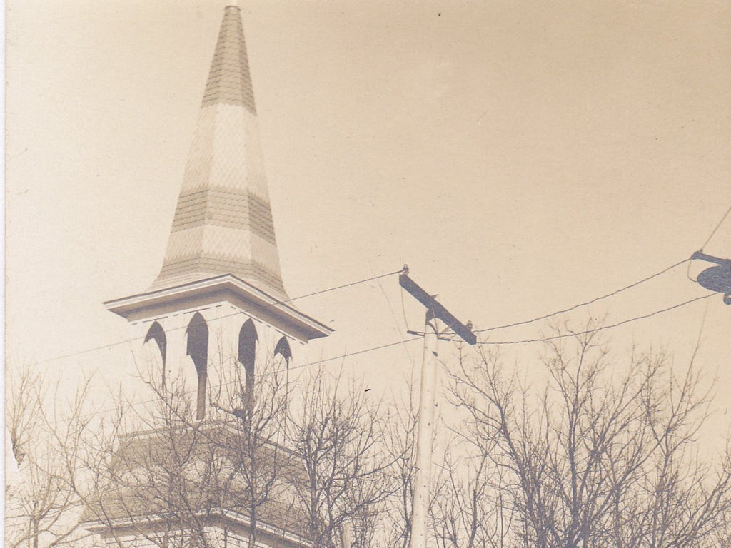 Lutheran Church- 1900s Antique Photograph- Alma City, MN- Old Church Steeple- Found Photo- RPPC- Real Photo Postcard- Vernacular- Ephemera