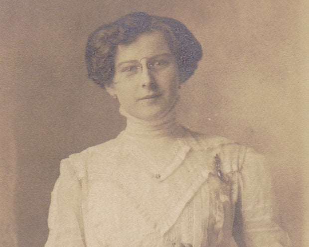 Hope You're Satisfied- 1900s Antique Photograph- Edwardian Fashion- Woman- Pince Nez Glasses- Spectacles- RPPC- Real Photo Postcard-