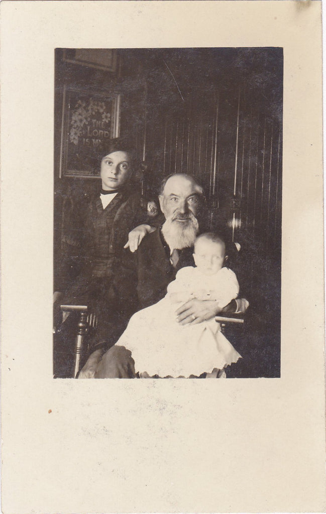 Grandpa's Girls- 1910s Antique Photograph- Edwardian Family- Photographer H A Syverud- Highmore, SD- RPPC- Real Photo Postcard- Vernacular- Found Photo