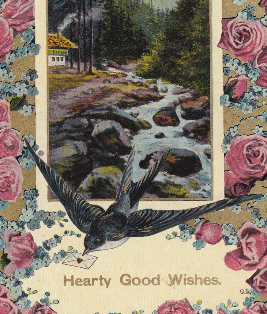 Hearty Good Wishes- 1910s Antique Postcard- Barn Swallow- Bird and Flowers- Roses, Forget-me-nots- Theochrom- Love- Edwardian Birthday- Thodore Eismann