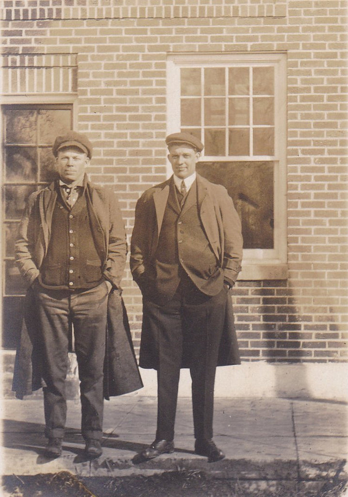 Edwardian Gents- 1910s Antique Photograph- Handsome Men- Long Coats and Hats- RPPC- Real Photo Postcard- Vernacular- Found Photo- Ephemera