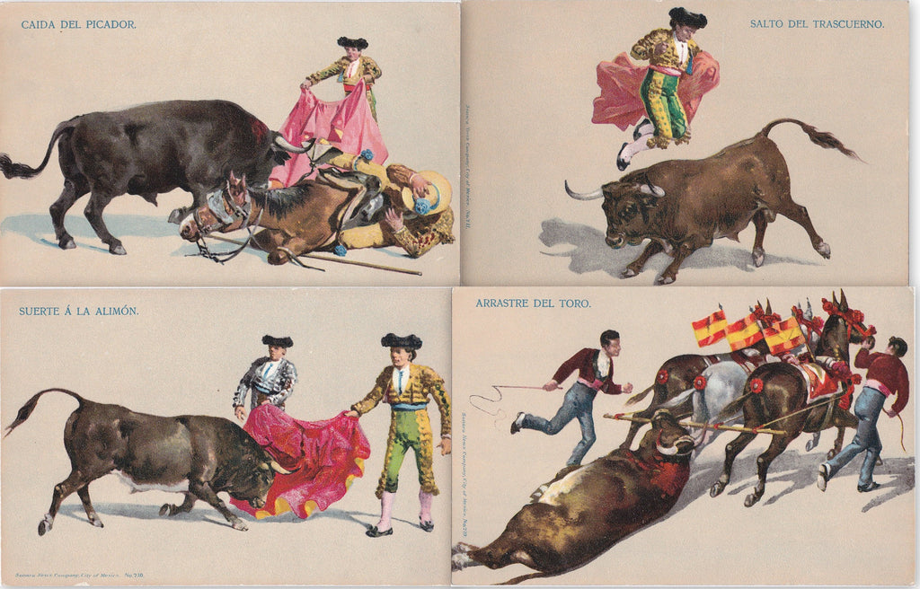 Bullfighting in Mexico- 1900s Antique Postcards- SET of 4- Corrida De Toros- Matador, Picador- Sonora News Co- Bull Fight- Art Cards