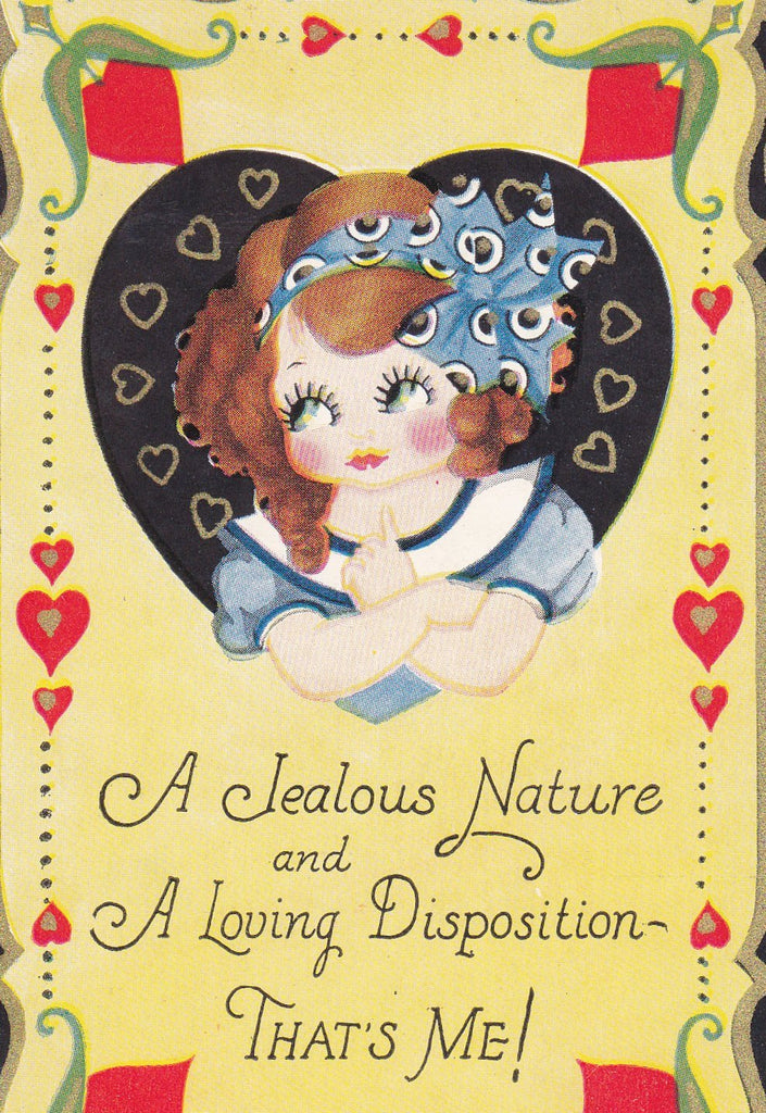 A Jealous Nature- 1920s Antique Postcard- Loving Disposition- Valentine- Carrington Co- That's Me- Roaring 20s- Art Deco- Used