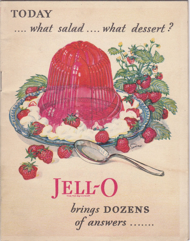 What Salad, What Dessert- 1920s Antique Booklet- JELL-O 1928- Gelatin Recipes- Retro Cooking- Cook Book- Paper Ephemera