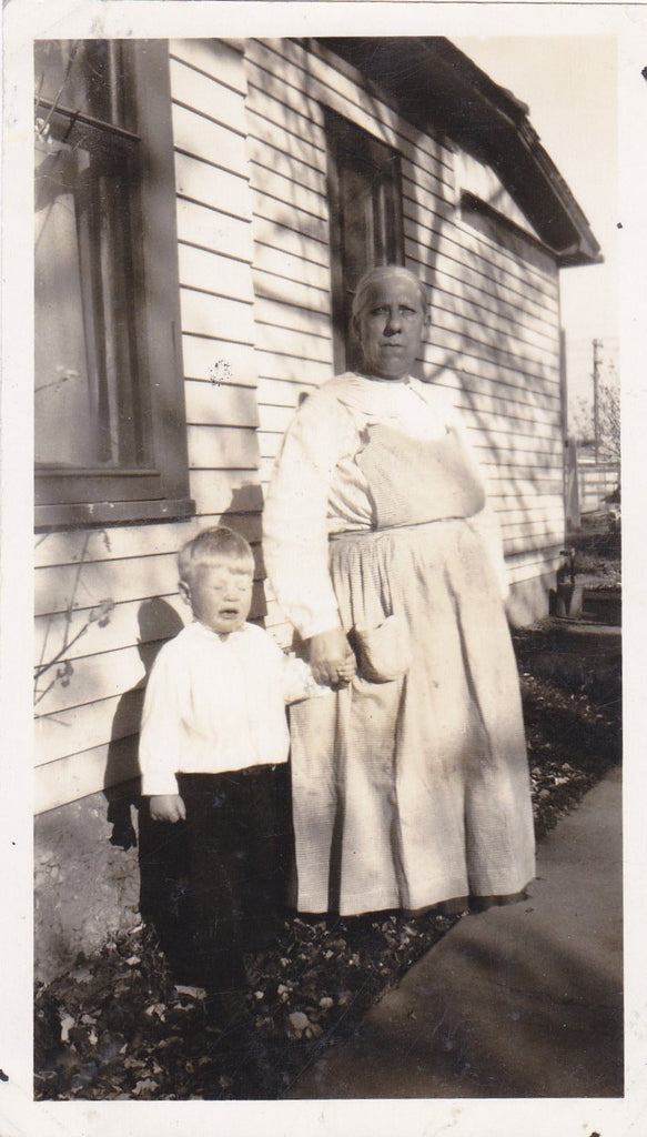 Caught Mid Sneeze- 1920s Antique Photograph- Cute Little Boy- Funny Snapshot- Found Photo- Crying Face- Holding Hands- Grandma- Vernacular