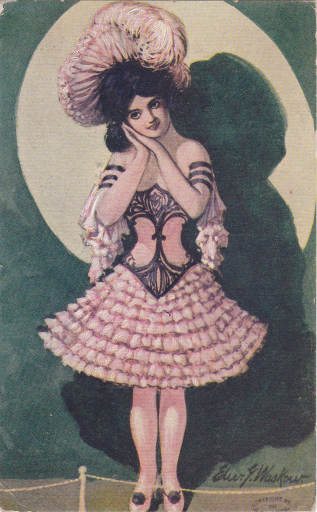 Dance Hall Beauty- 1900s Antique Postcard- Can-Can Dancer- Edwardian- Edward Waskow- Artist Signed- Belle Epoque- H G Zimmerman- Used