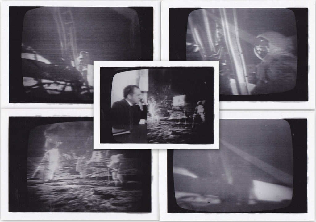 Men Walk on Moon- 1960s Vintage Photographs- SET of 5- July 20, 1969- TV Screen- Eyewitness History- President Nixon- NASA Astronauts- Snapshots