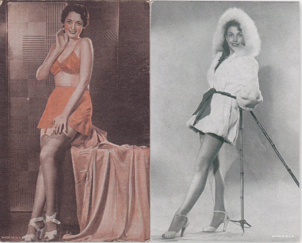 Summer and Winter- 1940s Vintage Arcade Cards- SET of 2- Pin-Up Girls- Skiing Beautiful Woman