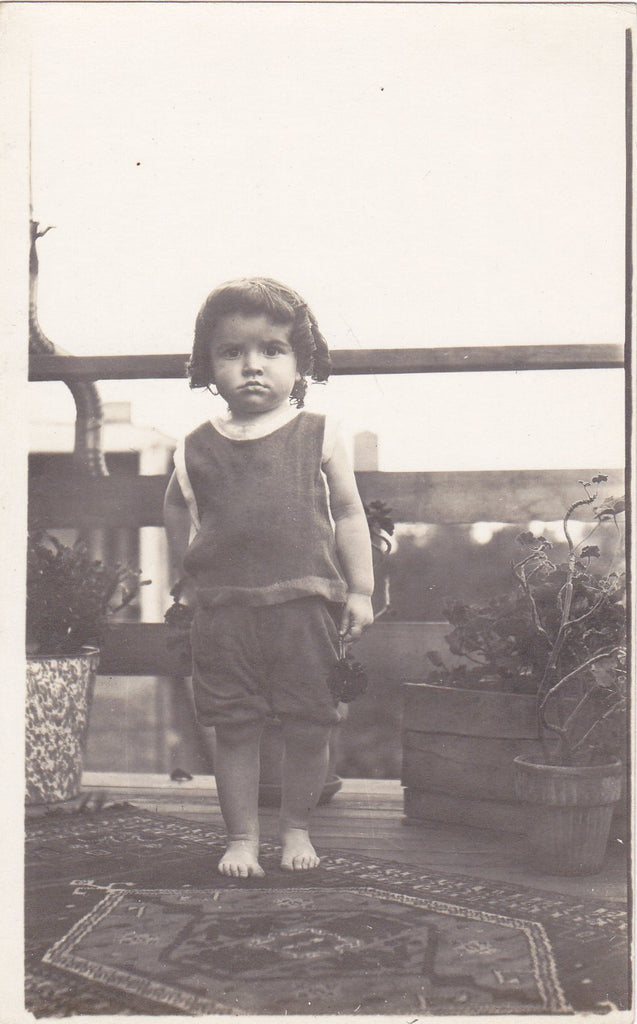 Barefoot Kiddo- 1900s Antique Photograph- Edwardian Boy- Hair in Ringlets- Real Photo Postcard- RPPC- Found Photo- Paper Ephemera