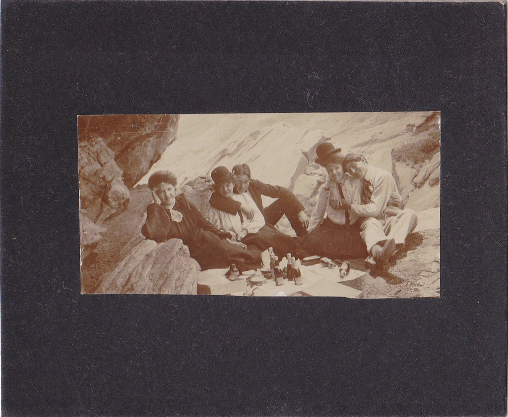 Beer and Sandwiches- 1890s Antique Photograph- Victorian Colorado Picnic- Drinking Alcohol- Hiking Friends- Found Photo- Cabinet Photo