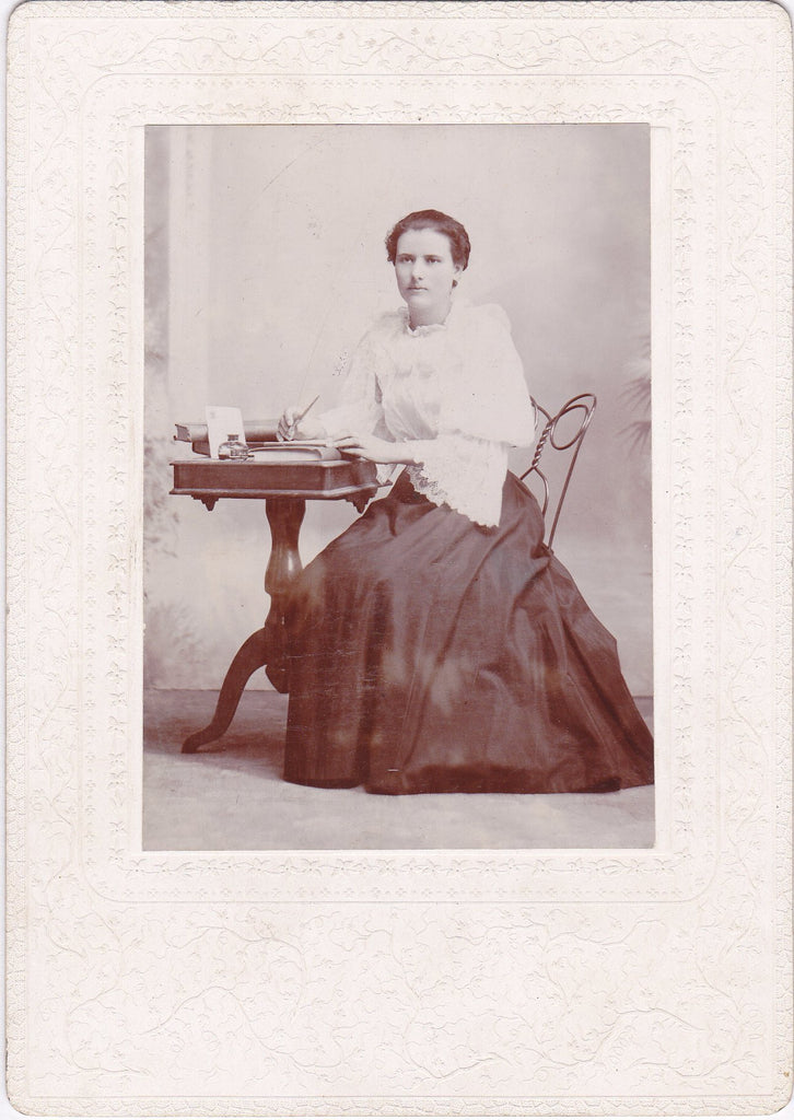 Letter Writer- 1890s Antique Photograph- Victorian Woman- Writing Desk- Cabinet Photo- Pen and Ink- 19th Century Portrait- Found Photo