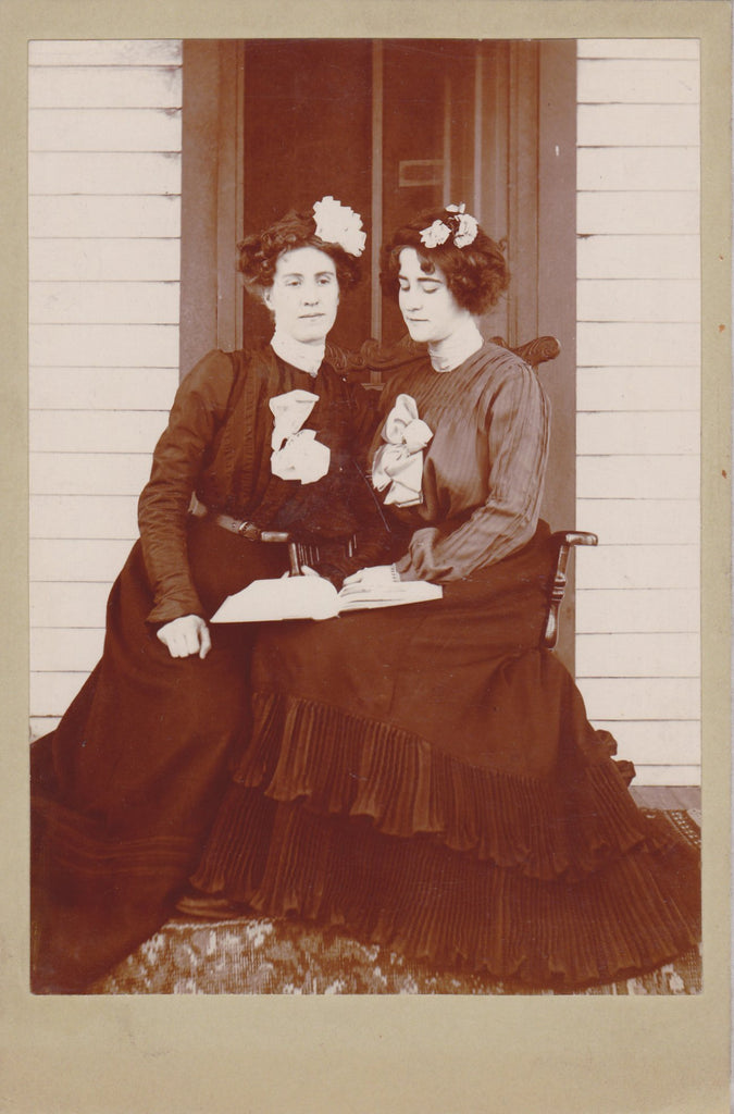 Gibson Sisters- 1890s Antique Photograph- Victorian Women- Belle Epoque- Best Friends- Cabinet Photo- 19th Century Fashion- Holding Book