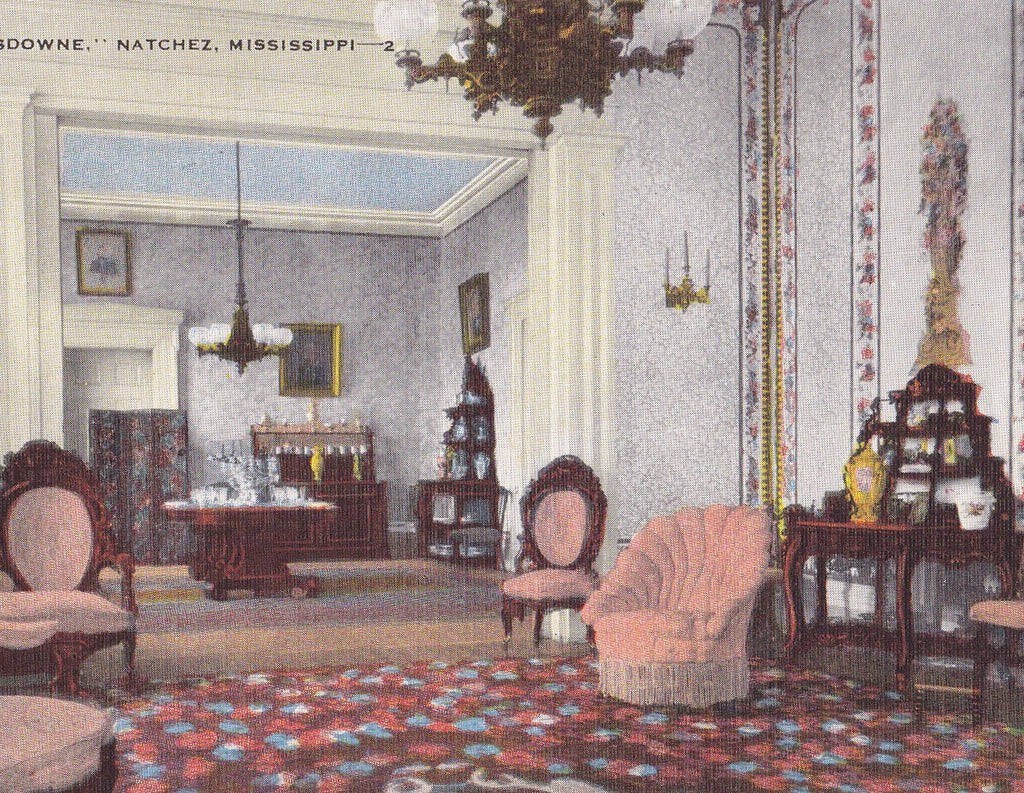 Lansdowne Plantation- 1940s Vintage Postcard- Natchez, MS- George M Marshall- Historic Mansion- Interior View- E C Kropp