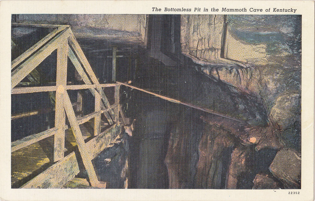 The Bottomless Pit- 1940s Antique Postcard- Mammoth Cave- Kentucky Landmark- Underground Cavern- Souvenir Card- Used