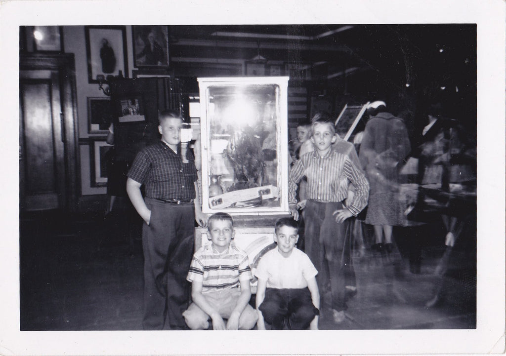 Haunted Museum- 1950s Vintage Photograph- Eagle Taxidermy- Double Exposure- Found Photo- Vernacular- Weird Snapshot- Ephemera