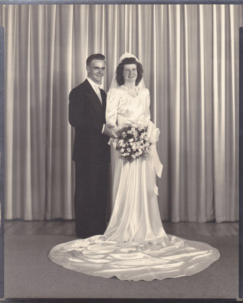 White Satin Wedding- 1940s Vintage Photographs- SET of 2- Bride and Groom- Bridal Party- 8 x 10 Portraits- Vernacular Photos- Paper Ephemera
