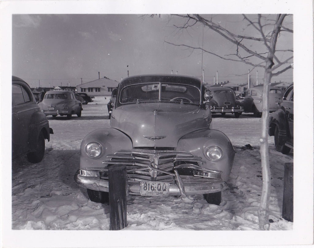 Fender Bender- 1950s Vintage Photograph- Chevrolet Fleetmaster- Car Accident- Ohio License Plate- Found Photo- Vernacular Snapshot