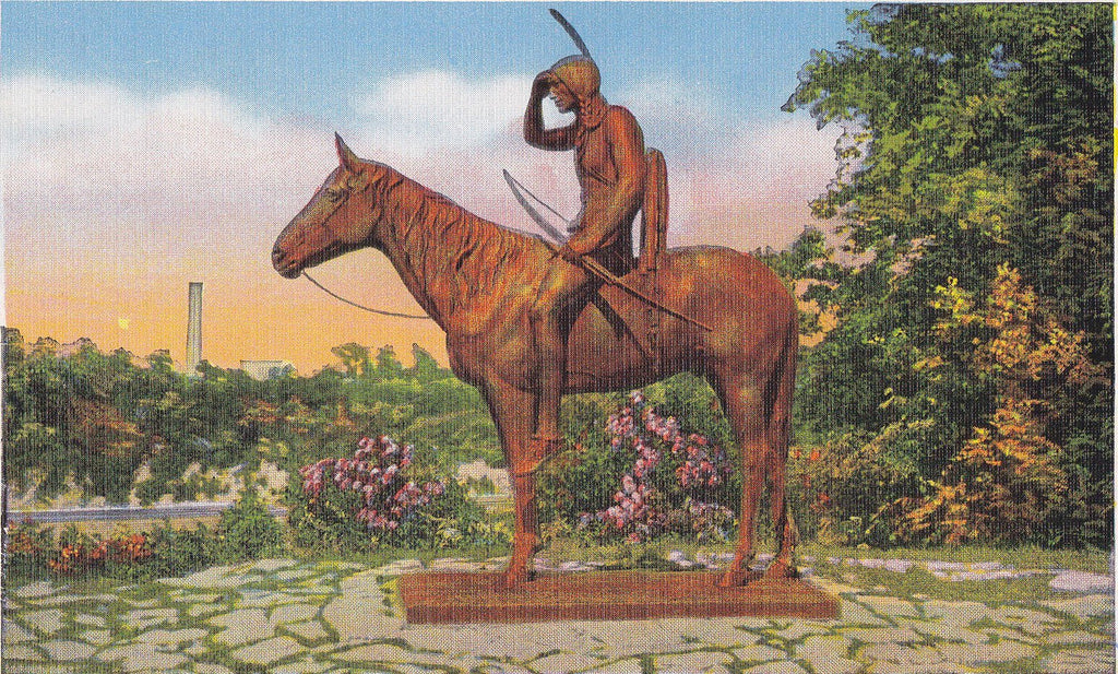The Scout- 1940s Vintage Postcard- Penn Valley Park, Kansas City, MO- Cyrus Dillin- Sioux Indian Statue- Native American- Souvenir- E. C. Kropp