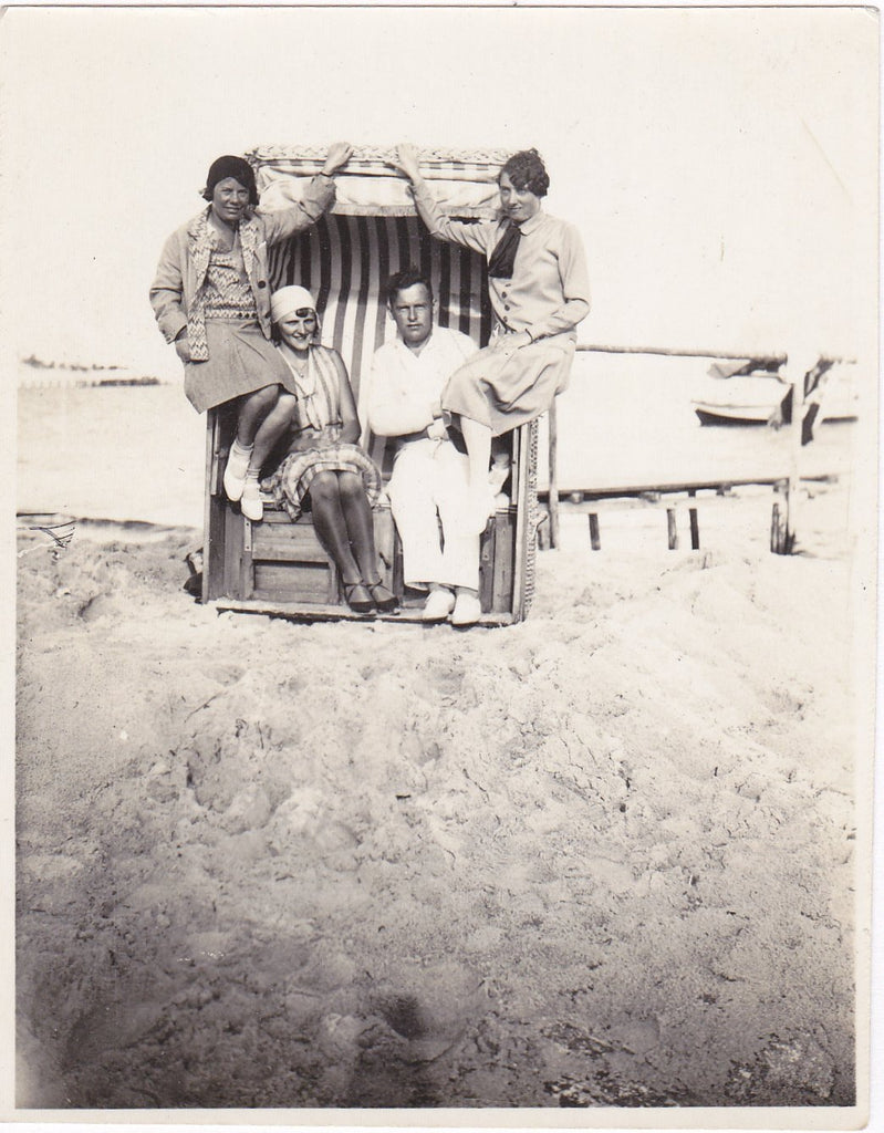 Strandkorb- 1930s Vintage Photograph- German Beach Chair- Friends Snapshot- Found Photo- Group Picture- Vernacular