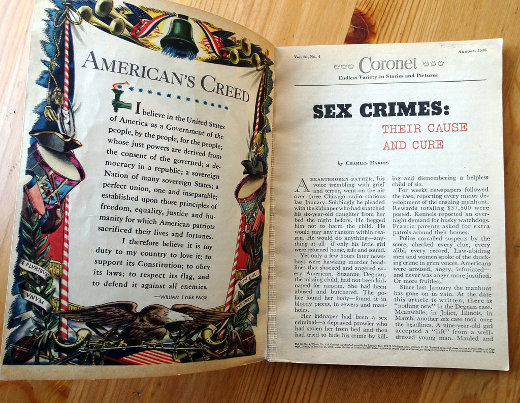 Can Sex Crimes Be Stopped- 1940s Vintage Coronet Magazine- Liz MacLean- August, 1946- Rocket To Mars- News Articles- Paper Ephemera