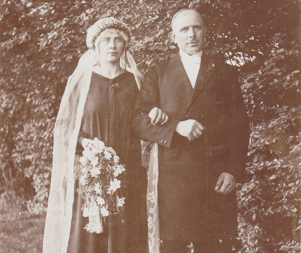 Blasheim Bride- 1920s Antique Photograph- Bride and Groom- German Wedding Portrait- Long Veil- RPPC- Real Photo Postcard- Found Photo