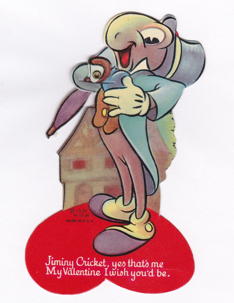 Jiminy Cricket - 1930s Vintage Card- 1939 Walt Disney Valentine- Pinocchio- Conscience- Voice in Your Ear- Mechanical Card- Used