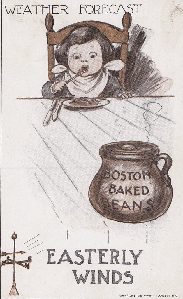 Boston Weather Forecast- 1910s Antique Postcard- Boston Baked Beans- Easterly Winds- Roth Langley- Fart Joke- Art Comic- Unused