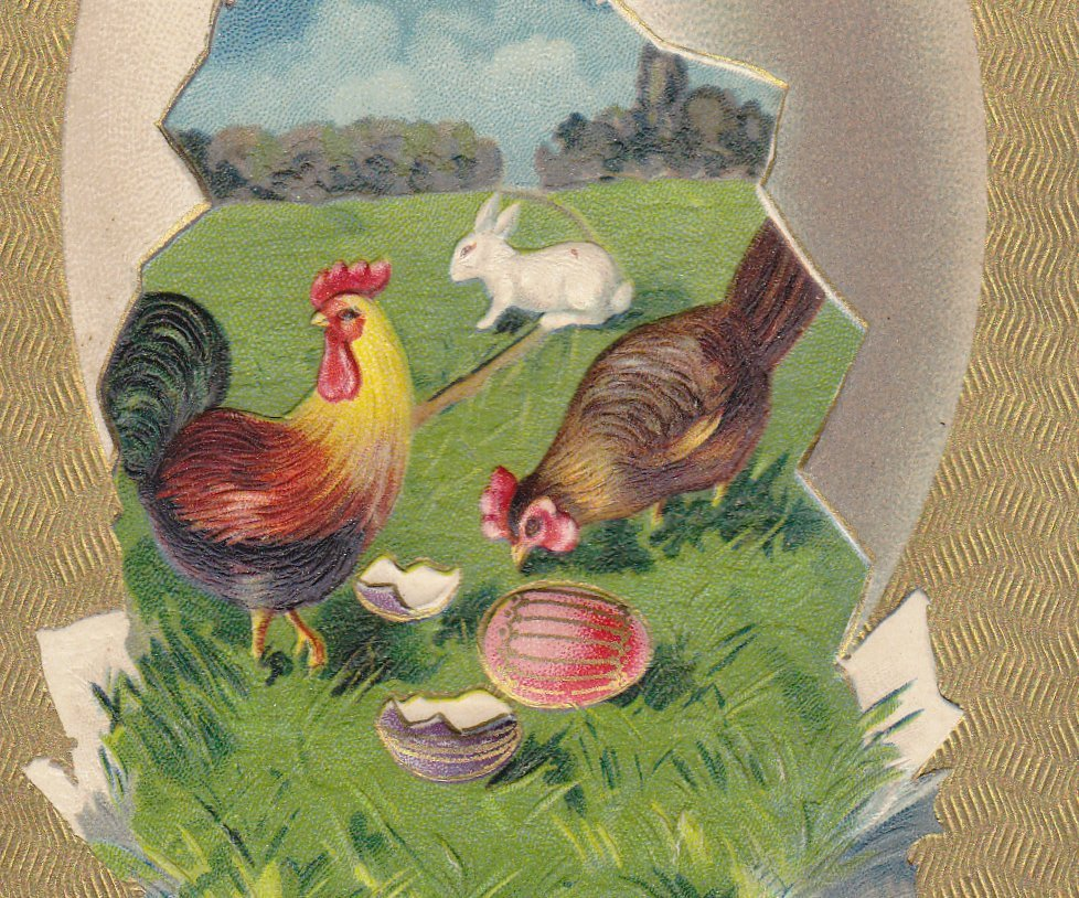 Easter Egg Greetings- 1900s Antique Postcard- Easter Bunny- Rooster and Hen- Edwardian Easter- Embossed- Used