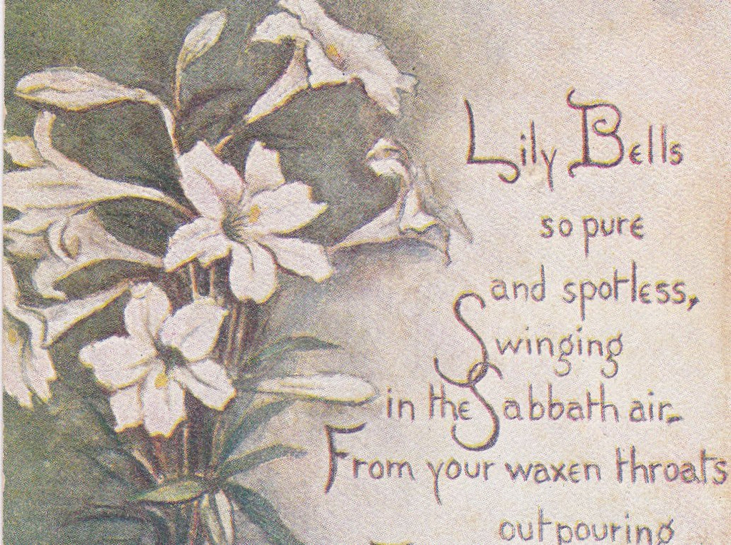 Lily Bells So Pure- 1900s Antique Postcard- Easter Thoughts- Easter Sabbath Poem- Lily Flower Prayer- Sandford Card Co- Used