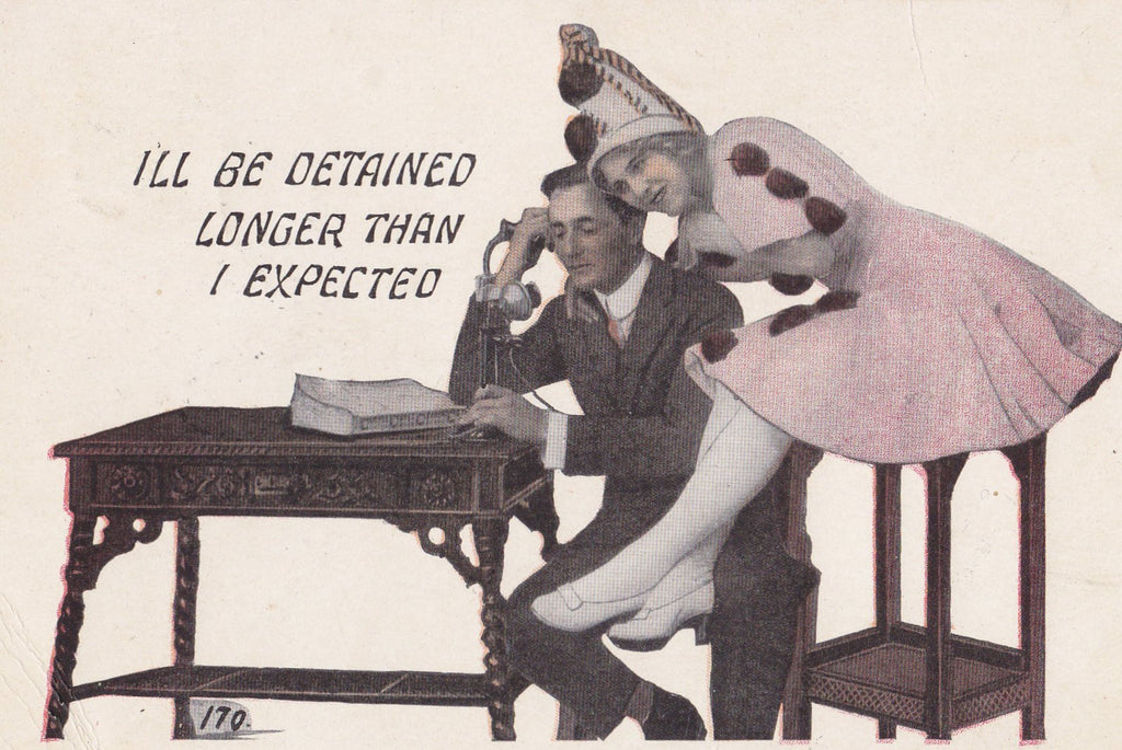 I'll Be Detained- 1910s Antique Postcard- Lady Pierrot Clown- Candlestick Telephone- Edwardian Romance- Art Comic- Used