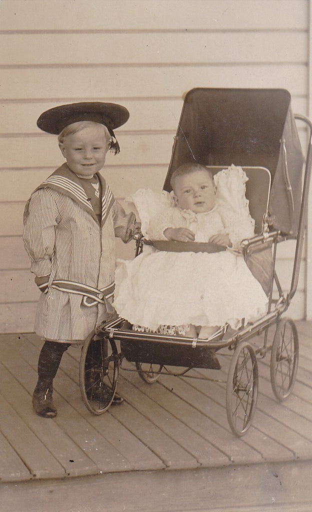 Edwardian Sailor Boy- 1900s Antique Photograph- Nautical Outfit- Baby Carriage- Edwardian Children- Real Photo Postcard- RPPC- Found Photo