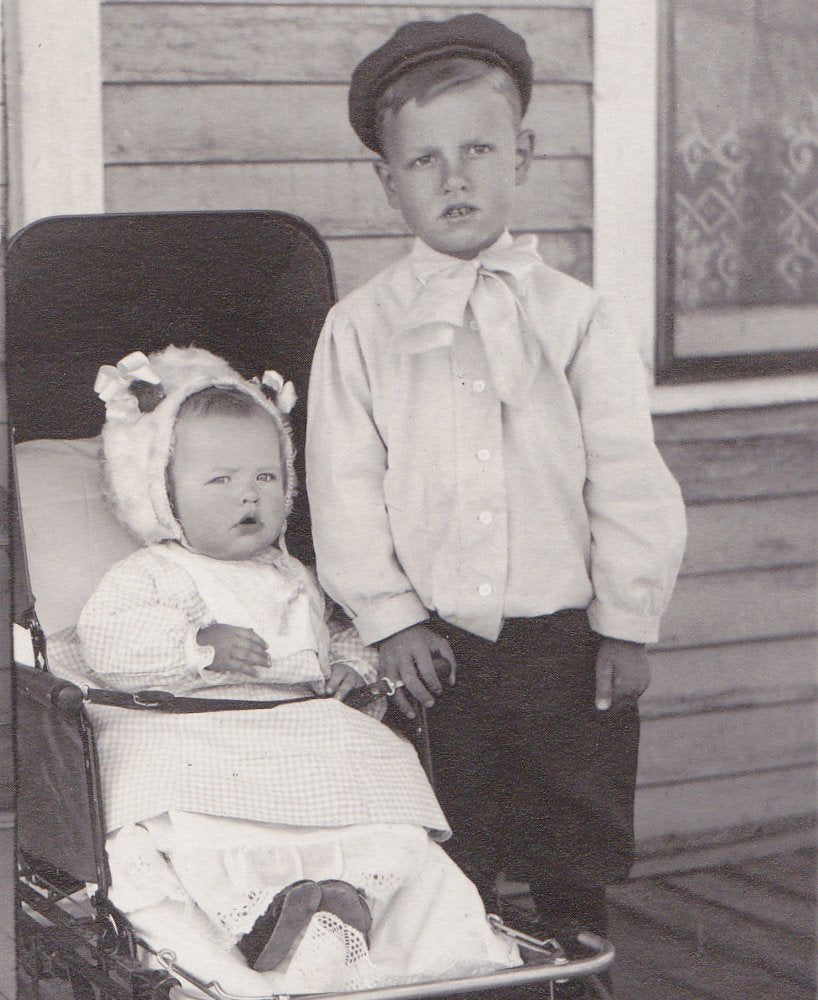Dubious Darlings- 1900s Antique Photograph- Edwardian Children- Brother and Sister- Baby Carriage- Real Photo Postcard- RPPC- Paper Ephemera