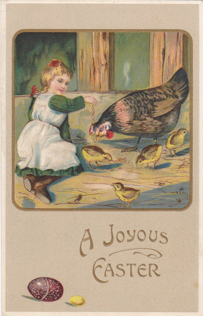 Joyous Easter Chickens- 1900s Antique Postcard- Edwardian Easter Card- Chicken Coop- Feeding Birds- Schleuder Paper Co- Embossed- Used