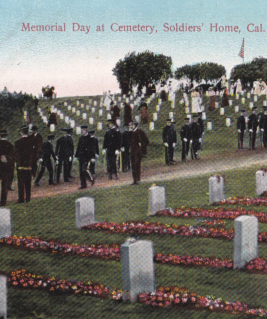 Memorial Day at Cemetery- 1900s Antique Postcard- Soldier's Home- California Graveyard- Post Fund- Used