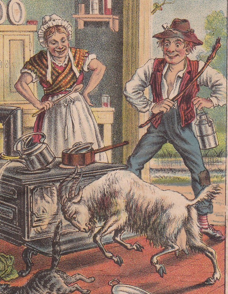 Keep Out the Goat- 1880s Trade Card- Rising Sun Stove Polish- Burrow Giles Lith Co- Lithograph- Victorian Advertising- Paper Ephemera