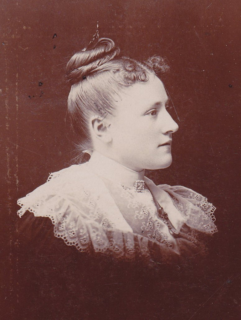 Luminous Lady- 1890s Antique Photograph- Victorian Woman- 19th Century Fashion- Top Knot Hairstyle- Philadelphia, PA- Cabinet Photo