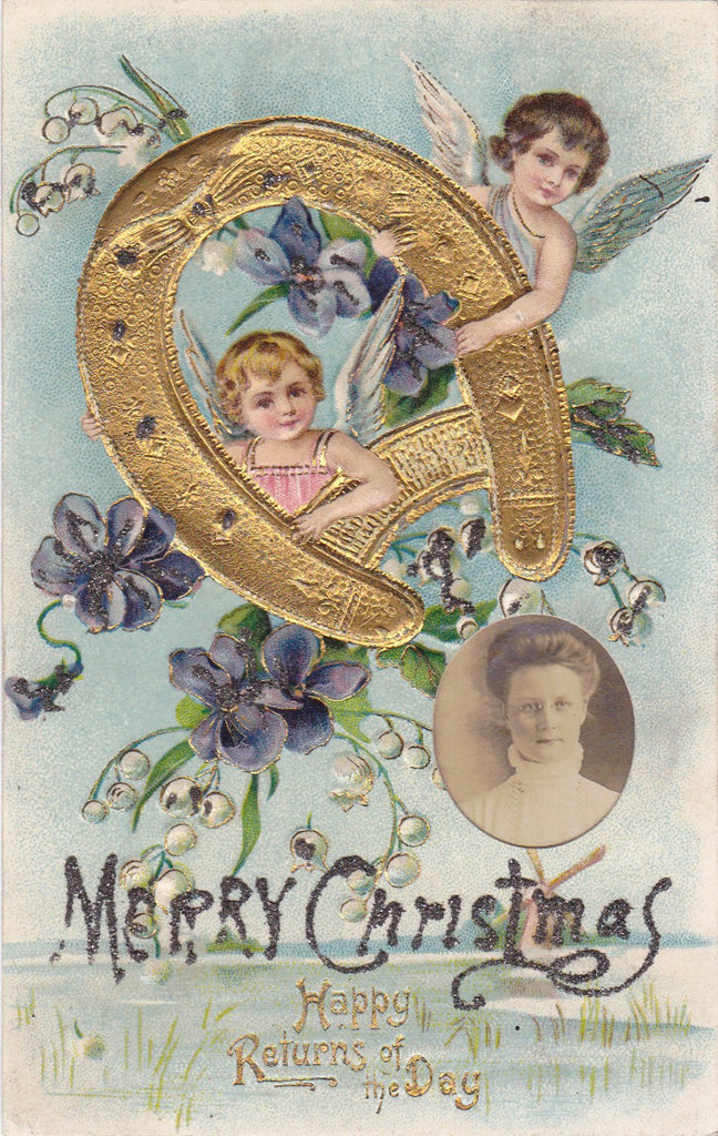 Happy Returns of Christmas Day- 1900s Antique Altered Postcard- Golden Horseshoe- Gem Photo- Found Art- Edwardian- Embossed
