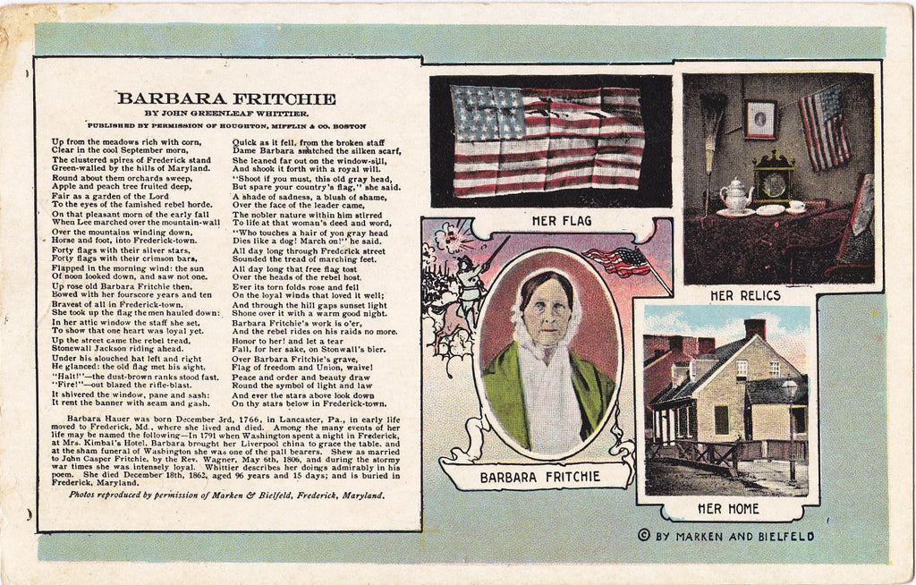Barbara Fritchie Portrait- 1910s Antique Postcards- SET of 2- John Greenleaf Whittier- Civil War Poem- History- Frederick, MD- Marken & Bielfeld- Used