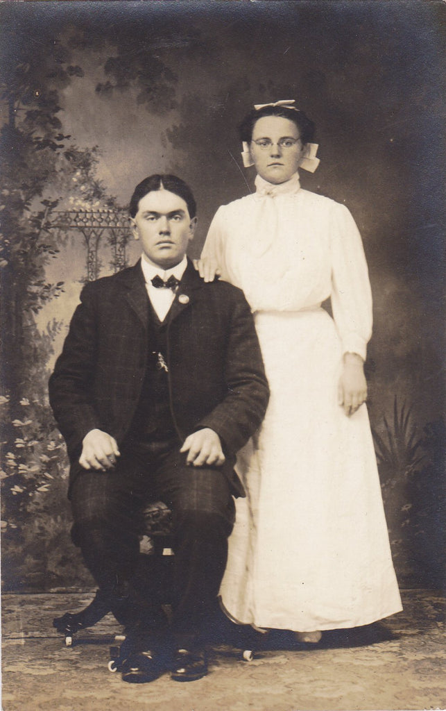 Ben and Lulu- 1910s Antique Photograph- Edwardian Couple- Studio Portrait- RPPC- Real Photo Postcard- Vernacular- Man and Woman
